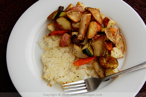Roasted Vegetables With Crispy Rice Cake