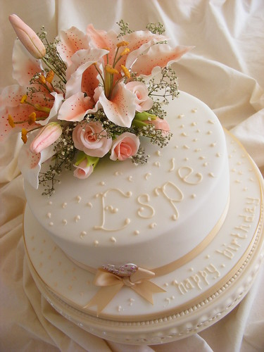 My creation · white orchids · 80th birthday cake