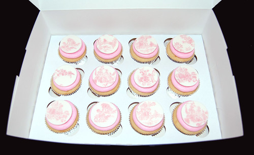 pink french toile cupcakes