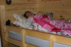 Sophia in Bunkbed Camping with Quilt She Made
