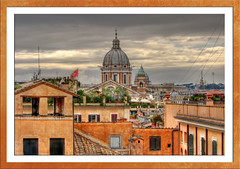 Rome view (Mike G. K.) Tags: city windows roof sky italy orange rome roma rooftop church birds architecture clouds buildings italia cityscape view rusty dome frame walls crusty blueribbonwinner golddragon abigfave platinumphoto anawesomeshot asmallfave mikegk:gettyimages=submitted