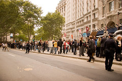 Bailout Protest (Lindsay Beyerstein) Tags: newyork color bush peace action outdoor manhattan protest peaceful bull demonstration wallstreet financial codepink economy liberal crisis mortgage bailout agitpop subprime 700billion