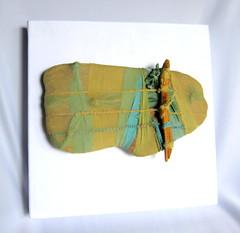 Spirit Raft l (framed) (tteerriitt) Tags: wood artwork poetry poem timber textile fabric stick foundobjects bound knots sewn stich treebones wraped spiritraft1