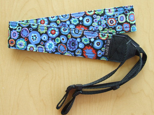 camera strap :: kaffe fassett's cobalt paperweight