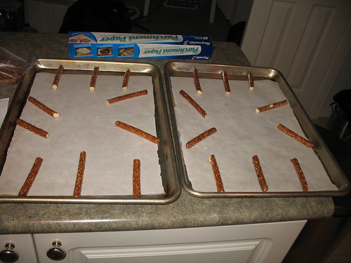 Pretzel rods on two pans