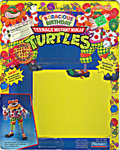 """Bodacious Birthday"" TEENAGE MUTANT NINJA TURTLES ::  CRAZY CLOWIN' MIKE .. backer i (( 1992 ))"