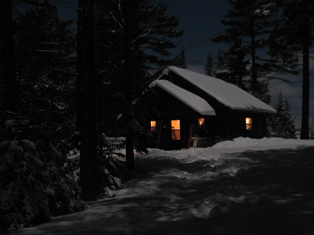 Fourteen Foot Shoal Cabin DIsnowshoe Tags Winter Shadow Moon Lake Snow Cozy
