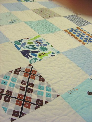 Simple Squares Baby Boy Quilt - Close up