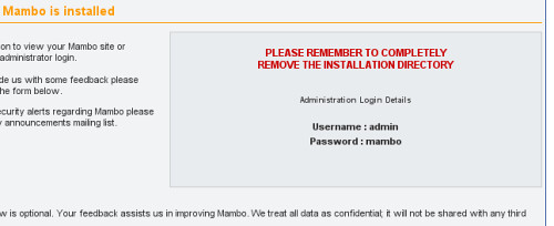 confirm the mambo instalation