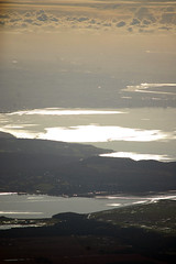 From 6,000 feet up in a balloon. The South of Windermere, Arnside and the sea bay at Morecambe