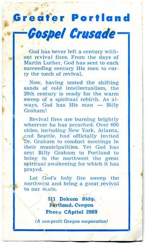 Billy Graham in Portland (1950) - Back