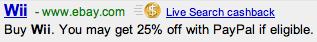 Cashback Ad on Live
