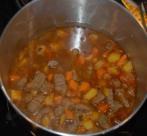 Simmering stew