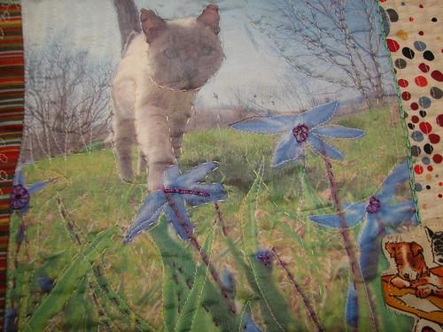 lu's cat printed on silk