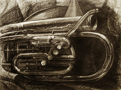 tuba 2 (Thomas Shahan 2) Tags: art pencil work paper sketch artwork model hand drawing thomas live sketching drawn graphite shahan observational