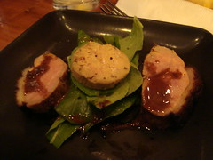 Arugula Salad with Roasted Duck Breast, Foie Gras Terrine and Chocolate Vinaigrette