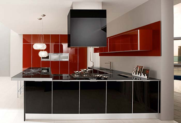 redecorating ideas for kitchen on ... ♥♥♥: The Red Kitchen Ideas with Retro Glossy Lacquered Glass