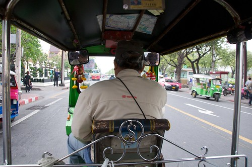 View from the back of the tuktuk in Bangkok, Thailand