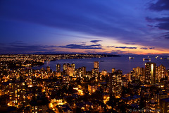 Tonight in Vancouver: A Darker Sunset ([travelfox]) Tags: city longexposure travel sunset sky canada water vancouver buildings lowlight bc dusk britishcolumbia ships kitsilano englishbay bluehour westend coasthotel canon50d