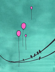 3.07.08 - Fly Away (invisibleElement) Tags: color birds balloons sketch wire marker sharpie invisibleelement sketchaday