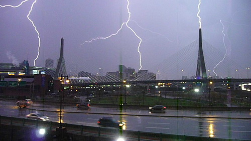 Zakim Bridge lightning