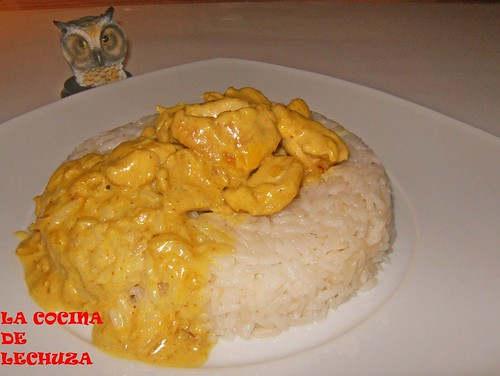 Pollo al curry-emplatado
