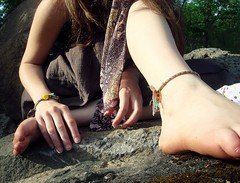 1566 (Jasmine Jinx) Tags: selfportrait feet nature girl rock scarf foot hands rocks hand arms arm legs jasmine fingers leg knuckle hippy bracelet hippie calf paisley knuckles anklet hemp calves friendshipbracelet hempbracelet