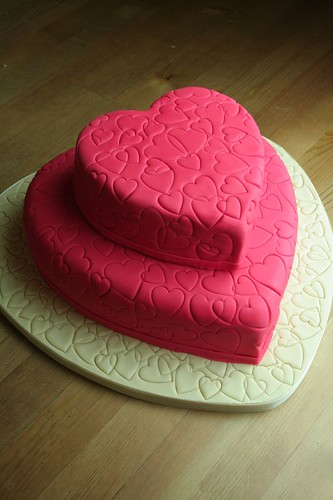 Random Hearts Wedding Cake