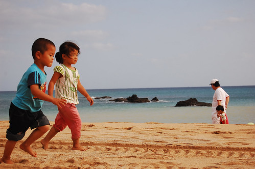 Kids playing on the sand