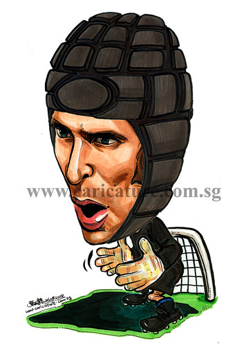 Caricature of Petr Cech with protective gear colour watermark
