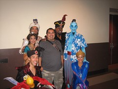 James poses with the Aladdin cast. (08/26/2006)