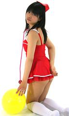 round? what. you mean my b... (emotiroi auranaut) Tags: red cute girl yellow japan female asian costume pretty cosplay balloon babe idol singer mysterious nurse charming