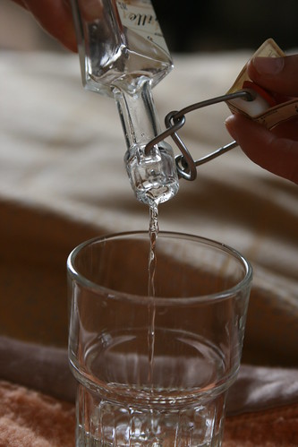 Pouring vanilla liqueur