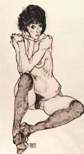 designing a tattoo. Drawing by Egon Schiele, who might be designing a tattoo for me
