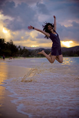 Leilani (SARA LEE) Tags: ocean sunset summer beach girl happy jump warm oahu midair splash epic kailua sarahlee legothenego leilanir vivantvie