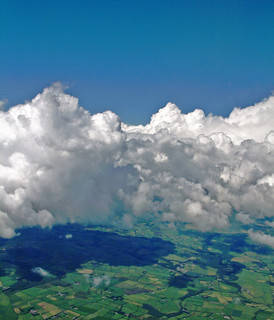 airborne irish clouds and fields