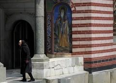 A nun entering the church at the Rila Monstary (Kate B Dixon) Tags: bulgaria rila monestary