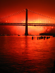 Fireworks and the Bay Bridge (jrodmanjr) Tags: sanfrancisco california bridge red silhouette night bay fireworks baybridge embarcadero kfog abigfave curbedsf