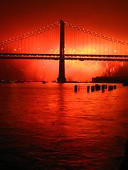 Fireworks and the Bay Bridge