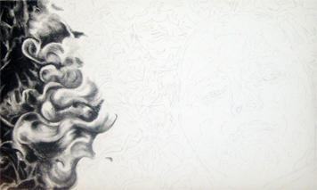 In progress photo of carbon pencil drawing entitled Sammie.