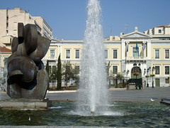 Plateia Kotzia, Athens (twiga_swala) Tags: old sculpture fountain architecture modern square greek cityhall central bank headquarters athens greece national neoclassical neoclassic plateia kotzia nbg