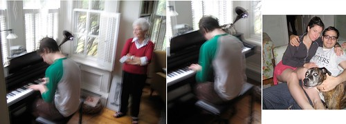 ace playing piano and nana, me, Dave, + Pita watch