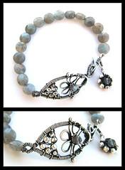 labradorite silver flower bracelet