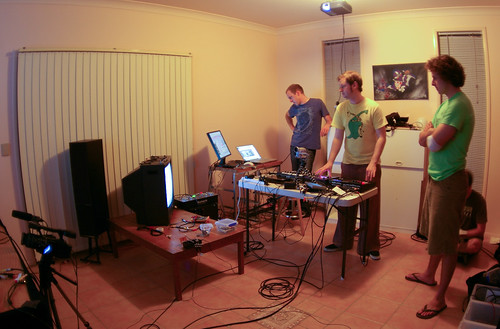 Rainer, Jaymis, Rowland - setting up NetLag