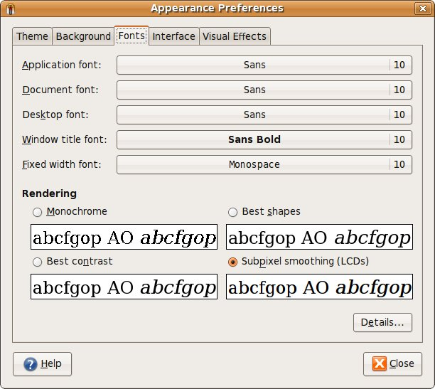 Ubutnu Font Rendering Settings