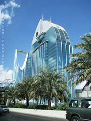 Into the blue... (Riyad-KSA) (-Mohamed-) Tags: blue tower skyscraper mall al construction open gulf centre kingdom center east ciel saudi arabia highrise middle orient now riyadh novotel ksa gratte riyad moyen centria anoud wassil 3anoud thebleu