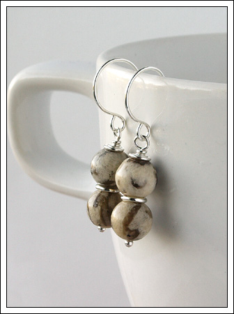 Feldspar & silver earrings
