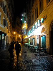 Rome , Italy , Romantic Walks (moonjazz) Tags: travel light urban italy streets rome roma wet sign yellow misty night dark walking outside evening alley shiny europe neon glow outdoor walk tourist romance cobblestone explore eat together rainy gelato sweets lonely stroll wander giolitti streel