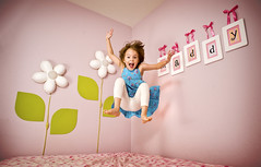 Jump Maddy! (isayx3) Tags: pink green girl jump jumping nikon ribbons angle wizard wide 24mm pocket d3 24mmf28af kiddywinks strobist challengeyouwinner mywinners flickrchallengewinner pfogold goldstaraward thechallengefactory
