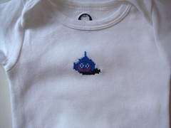 Slime onesie (benjibot) Tags: clothing crossstitch crafts videogames nes slime dragonwarrior onesie